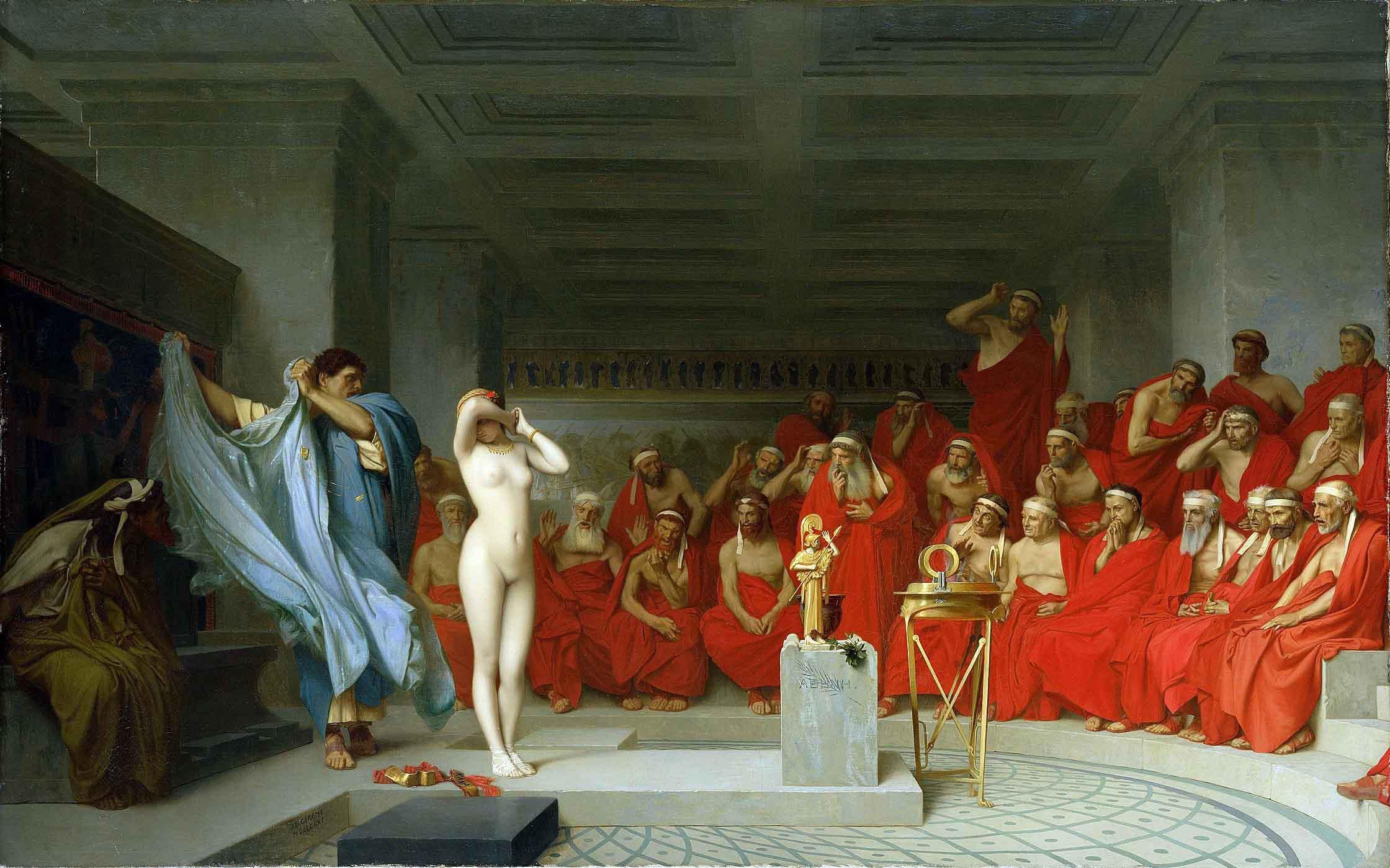 """La más hermosa de las cortesanas griegas, Friné, es desnudada en pleno juicio como parte de su defensa... La obra, """"Friné ante el areópago"""", fue creada en 1861 por el pintor francés Jean-Léon Gérôme ."""