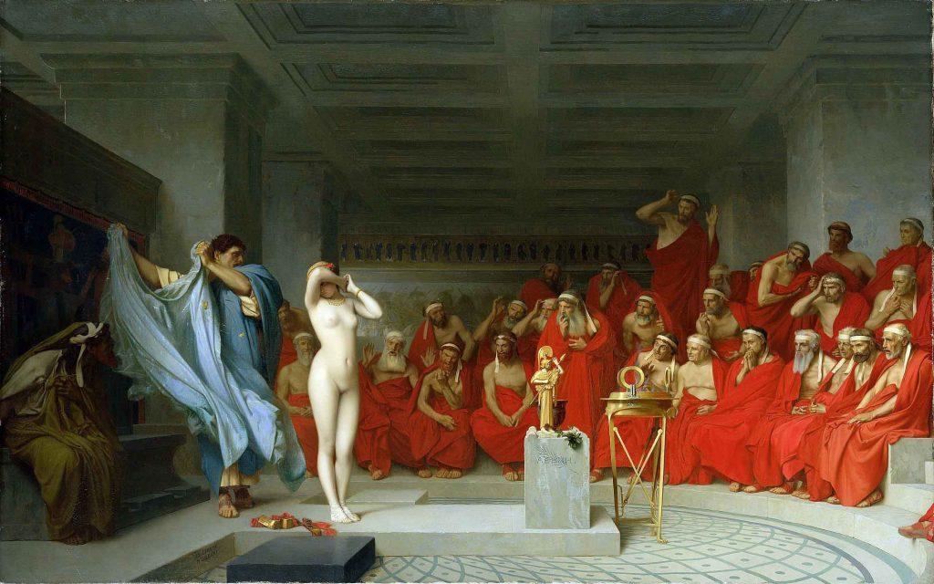 """La más hermosa de las cortesanas griegas, Friné, es desnudada en pleno juicio como parte de su defensa.. La obra, """"Friné ante el areópago"""", fue creada en 1861 por el pintor francés Jean-Léon Gérôme ."""