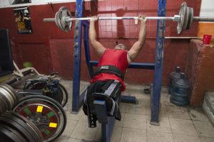 Lucas Saenz, discapacitados por guerra, en gimnasio de Monseñor Lezcano .Foto Uriel Molina/LAPRENSA