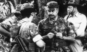 Somoza Debayle visitó algunas tropas de la Guardia Nacional que estaban desplegadas en 1979.