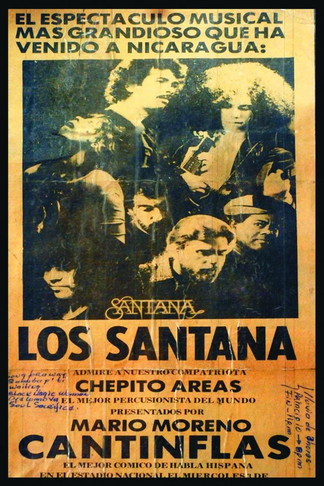 Afiche del concierto de Santana en Managua de 1973/foto/LA PRENSA/Alfredo Zúniga/22 de febrero del 2013