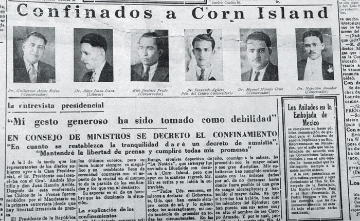 Fueron 22 los confinados a Corn Island en julio de 1944.