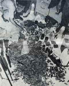 Parte del armamento de los guerrilleros, encontrado