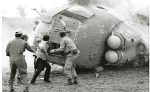 (foto de archivo) Helicoptero de la fuerza aerea de Nicaragua, se accidente en San Pedro de Lovago,29/6/90. LA PRENSA