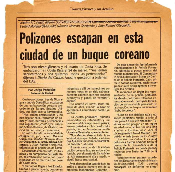 En la gráfica, la nota del Diario del Caribe publicada el 11 de abril de 1988.