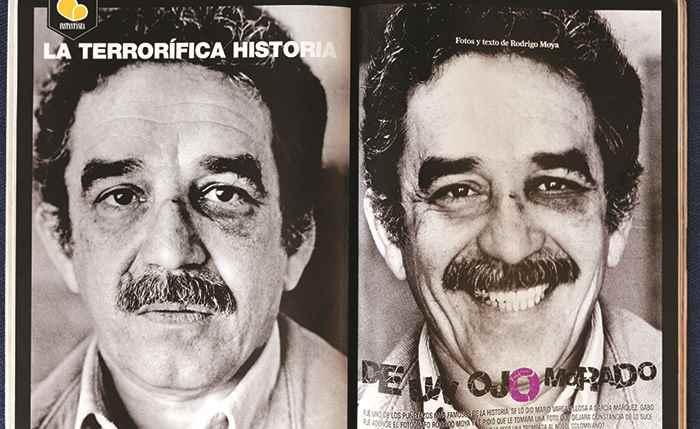 Estas son las famosas fotografías de Gabo y su ojo morado, publicadas en edición 149 de la revista Soho, de Colombia. Fue él mismo quien le pidió a su amigo fotógrafo Rodrigo Moya que se la tomara dos días después del incidente. Moya tampoco pudo saber la razón de aquella trompada y compartió la foto 30 años después de aquel día.