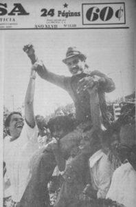 """Aunque Alexis Argüello había perdido  contra """"El Ñato"""" Marcel, en Nicaragua lo recibieron como a un vencedor."""