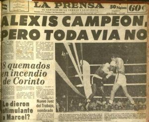 """Un voto de fe en la portada  del diario La Prensa, un día después de que  Alexis perdiera  contra Ernesto """"El Ñato"""" Marcel."""