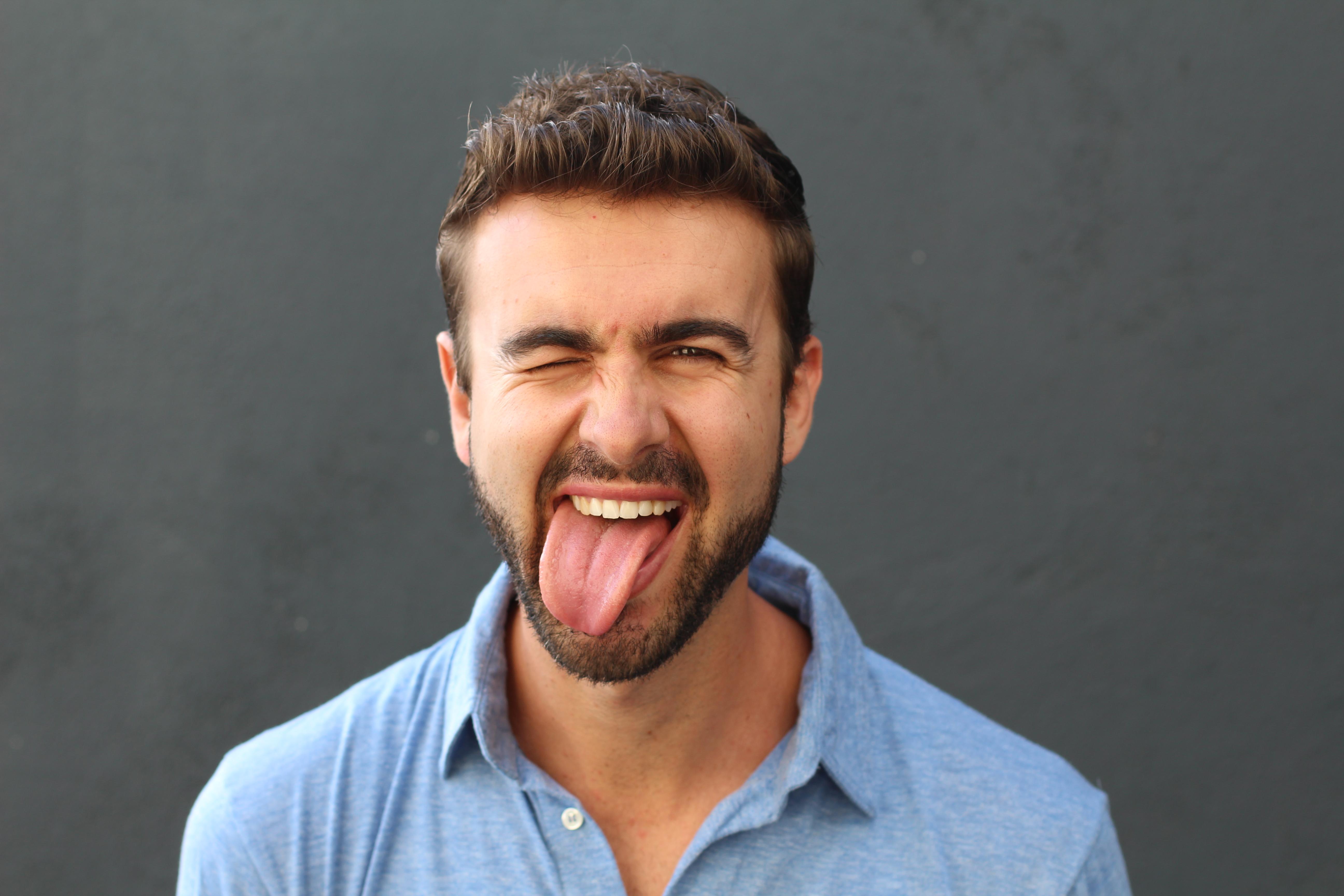 Man with hilarious facial expression