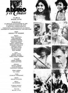 Afiche de la película Alsino y el cóndor, grabada en 1982 en Nicaragua.  Archivo histórico de Fucine Tomado del libro A la conquista de un sueño. Historia del cine en Nicaragua de Karly Gaitán Morales).
