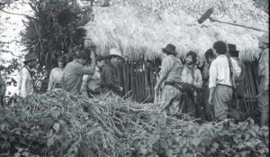 Durante el rodaje de la película Sandino. El Chocoyero, Ticuantepe.