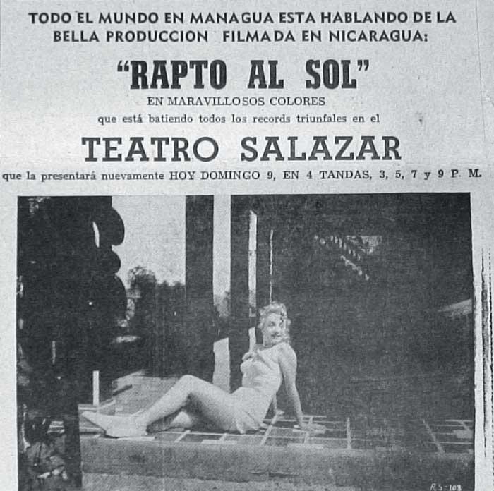 Afiche de la cinta mexicana Rapto al sol, grabada en Nicaragua