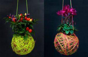 kokedamas, decoración, jardín, plantas