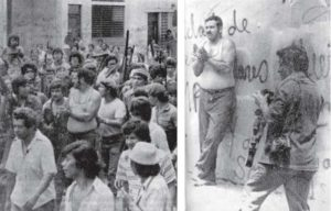 Una multitud enardecida acompañó a Alberto Gutiérrez desde la cárcel hasta el muro que serviría de paredón.  El periodista Pablo Emilio Barreto fotografía los últimos minutos de vida de Gutiérrez. Esta foto la tomó Manuel Salazar.
