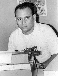 Edgar Tijerino Mantilla cuando se iniciaba como reportero deportivo de La Prensa, allá por 1970.
