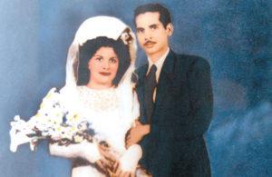 Fotografía de los años 40, tomada en un estudio donde Camilo Zapata contrae nupcias con su única esposa, Lila.