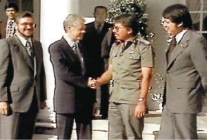 Con Daniel Ortega y Alfonso Robelo en la visita al presidente estadounidense Jimmy Carter, la Casa Blanca, en septiembre de 1979