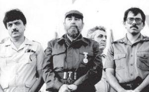 Con Daniel Ortega Saavedra y Fidel Castro, enero 1984, inauguración del Ingenio Victoria de Julio, atrás, Egon Kreenz, sucesor efímero de Honecker en la Alemania Comunista.