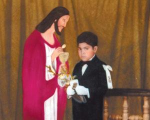 1983. Dando la primera comunión, desde pequeño su fe se mantuvo firme.
