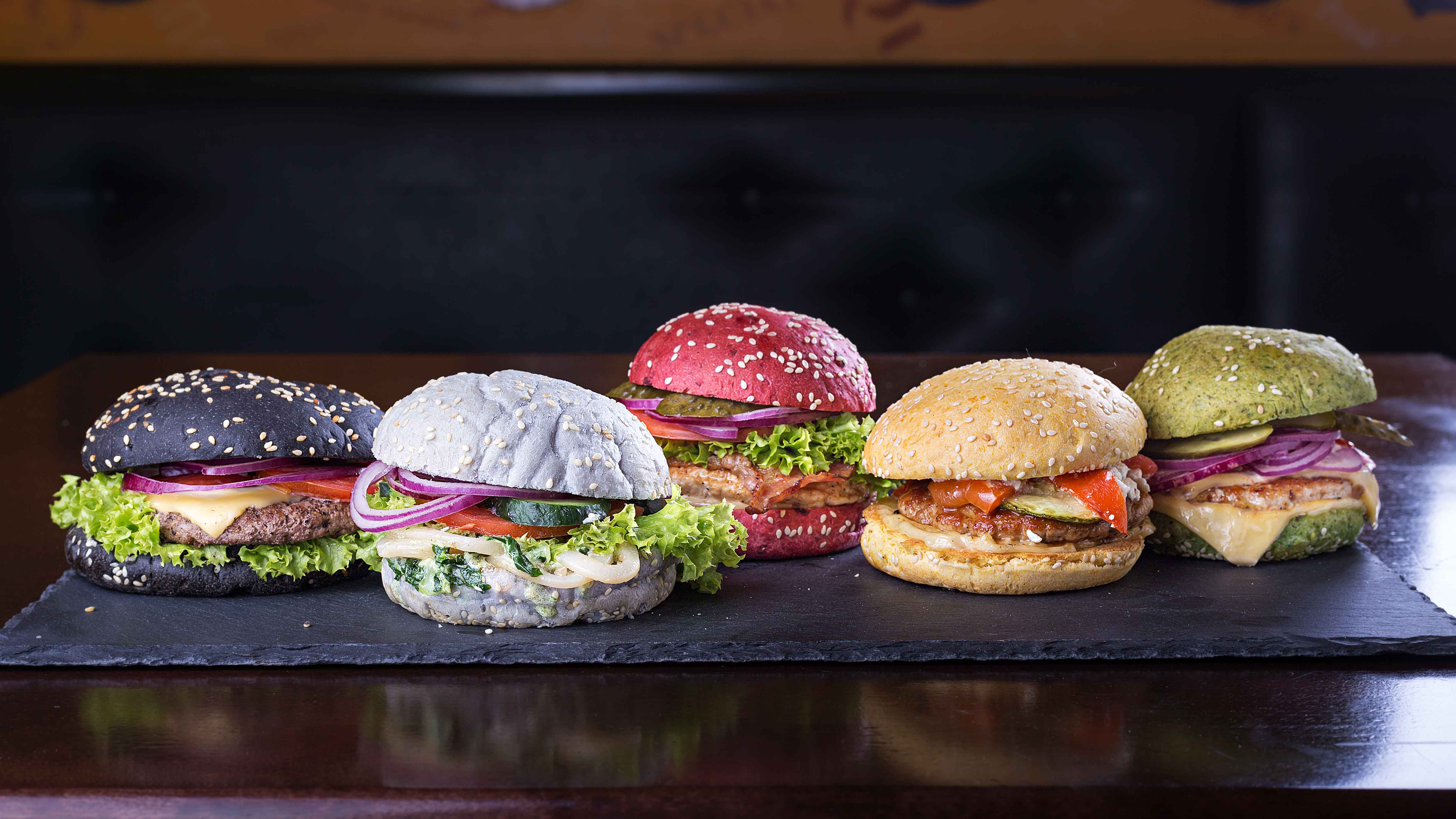 Assorted colored burgers