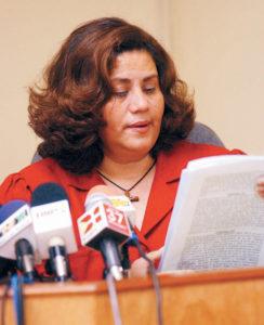 8 de diciembre del 2003: La juez Juana Méndez lee la condena a veinte años de cárcel por delitos de corrupción pública en el caso de