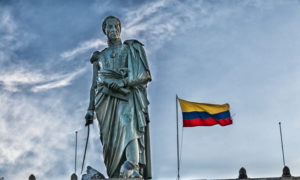 Simon Bolivar Statue and Colombian Flag