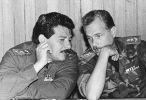 1991. Lenín Cerna con Joaquín Cuadra Lacayo, jefe del Estado Mayor del Ejército.