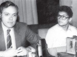 16 De marzo de 1982. Tardencilla es recibido en México por el embajador Aldo Díaz Lacayo, quien lo embarca a Managua.