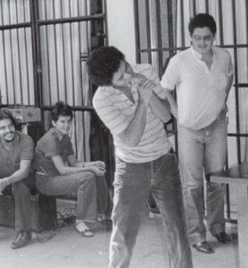 1984. Tardencilla, entonces miembro de la Juventud Sandinista, era presentado como ejemplo para los jóvenes sandinistas.