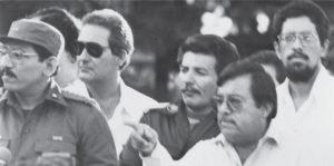 Humberto Ortega, Lenín Cerna, Manuel Espinoza y Víctor Tinoco, en la época del diálogo con la Contra.