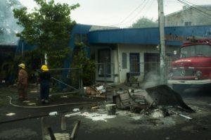 Edificio público quemado. Avellán dijo que los