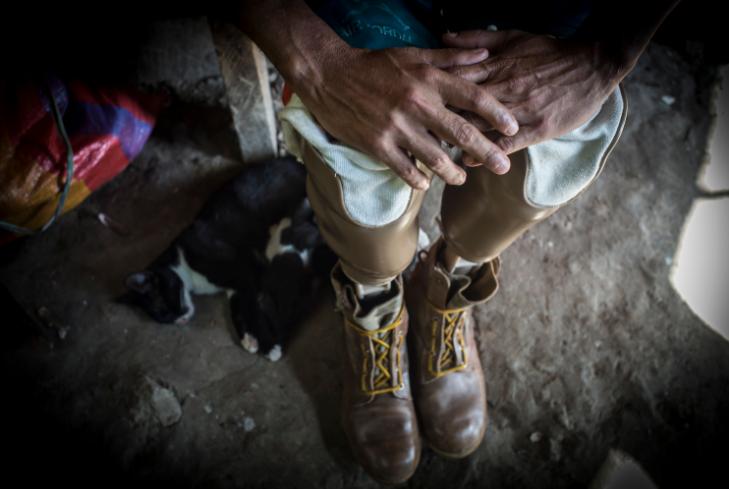 La familia de Maribel apoyó en todo momento a Lanzas, los primeros meses de convalencía solo se pudo mover en una silla de ruedas. LA PRENSA/Oscar Navarrete