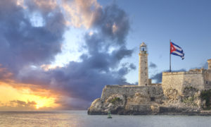 Faro Castillo del Morro lighthouse located in Havana Cuba at sunset