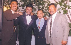 Cuatro grandes del deporte nicaragüense, Rosendo junto a Denis Martínez, Alexis Argüello y Marvin Benard.