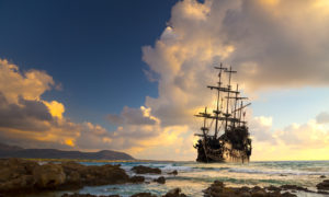 Pirate ship at the open sea