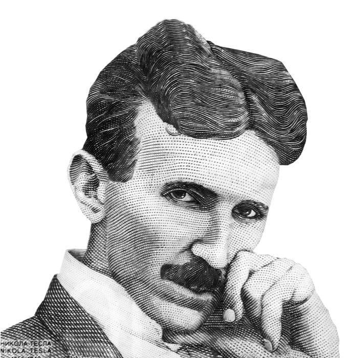 World famous inventor Nikola Tesla portrait isolated on white background. Black and white image