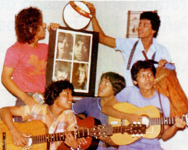El grupo de Los Amautas en 1981, al que pertenecía Jorge Huete