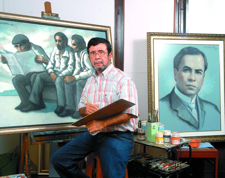 El pintor Róger Pérez de la Rocha y su otro yo